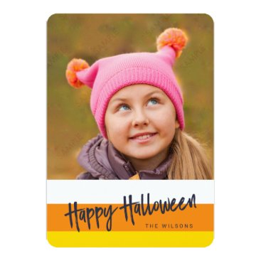 Halloween Themed Color Block Candy Corn Happy Halloween Photo Card