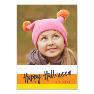 Color Block Candy Corn Happy Halloween Photo Magnetic Card