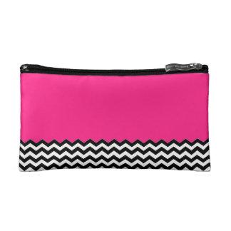 Color Block Chevron Cosmetic Bag- Hot Pink Makeup Bag