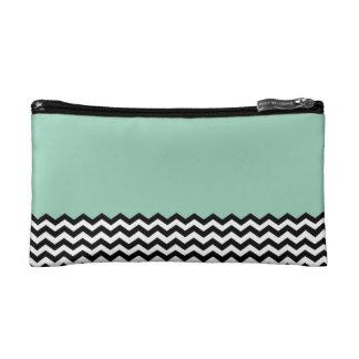 Color Block Chevron Cosmetic Bag- Pale Blue Makeup Bag