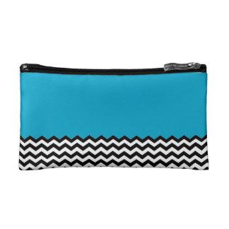 Color Block Chevron Cosmetic Bag- Sky Blue Makeup Bag