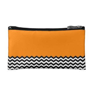 Color Block Chevron- Orange Makeup Bag