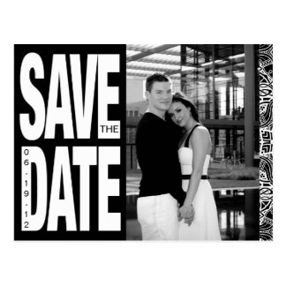 Color Block- Custom Save the Date - Black & White Postcard