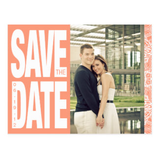 Color Block- Custom Save the Date - Coral Post Cards