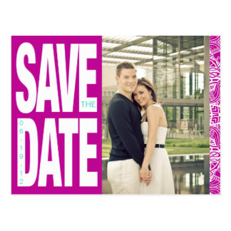 Color Block- Custom Save the Date - Plum + Teal Post Cards