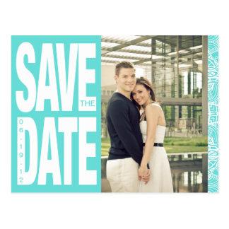 Color Block- Custom Save the Date - Teal Postcard