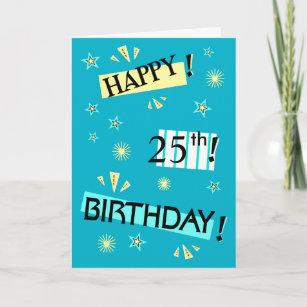 Blue 25th birthday cards zazzle color block fun 25th birthday greeting card m4hsunfo