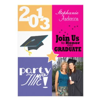 Color Block Graduation Party Personalized Invites