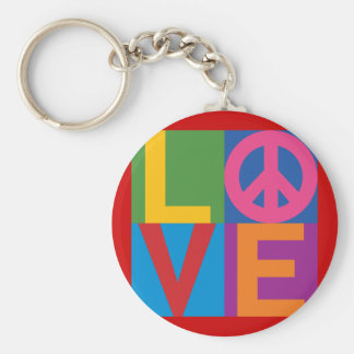 Color Block LOVE=Peace Keychain