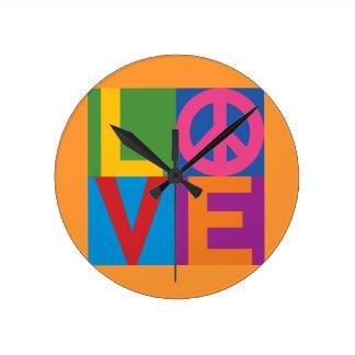 Color Block LOVE=Peace Wall Clock