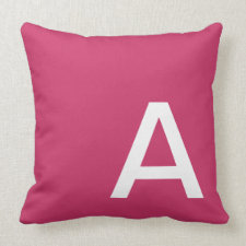 Color Block Monogram and Name Throw Pillow