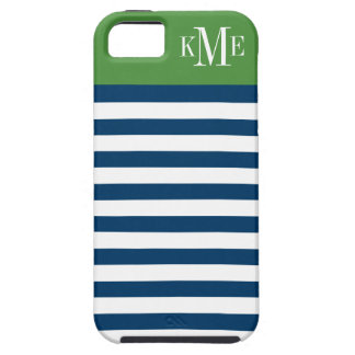 Color Block Monogram | Navy Stripes iPhone 5 Cover