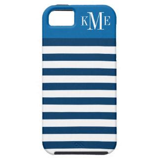 Color Block Monogram | Navy Stripes iPhone 5 Cases