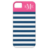 Color Block Monogram | Navy Stripes iPhone 5 Cases