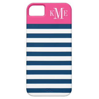 Color Block Monogram | Navy Stripes iPhone SE/5/5s Case