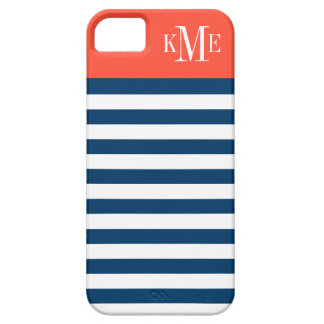 Color Block Monogram   Navy Stripes iPhone SE/5/5s Case