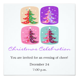 "Color Block of Christmas Trees Holiday Invitation 5.25"" Square Invitation Card"