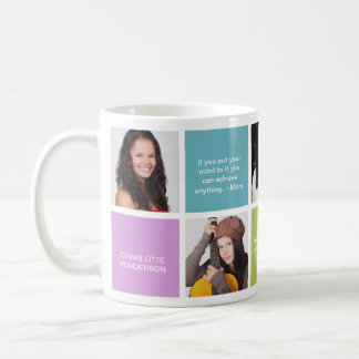 Color block personal quote grad custom multi photo coffee mug
