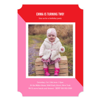 Color Block Photo Kids Birthday Card