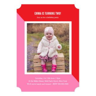 Color Block Photo Kids Birthday Card