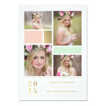 "Color Block Pink & Mint  | Graduation Invitation 5"" X 7"" Invitation Card"