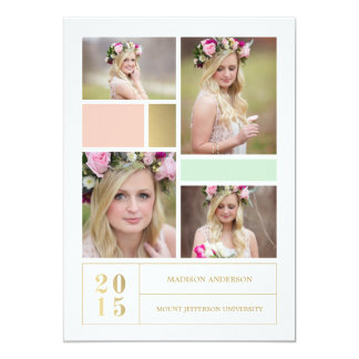 Color Block Pink & Mint  | Graduation Invitation