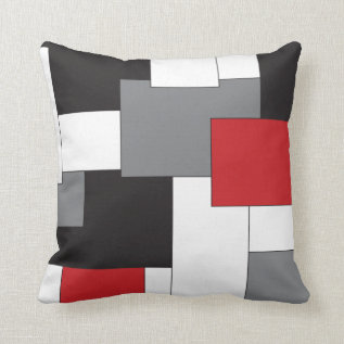 Color block Red Black Gray White Pattern Pillow at Zazzle