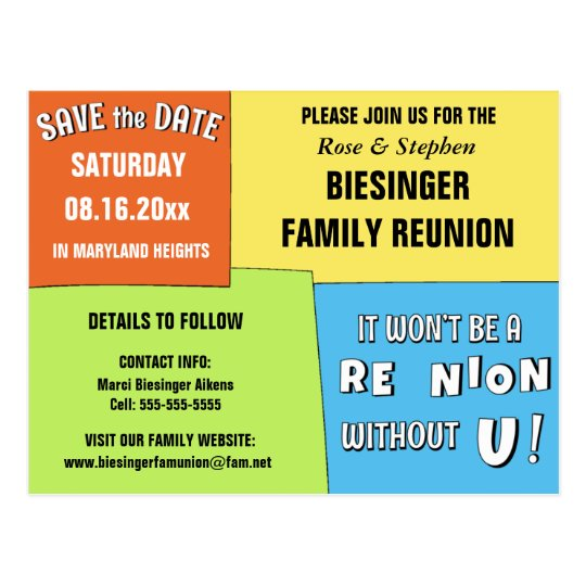 color block save the date reunion postcard
