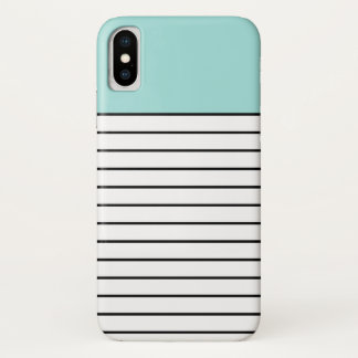 Color Block Stripes Pattern Mint Green Black iPhone X Case