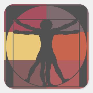 Color Block Vitruvian Man Square Sticker