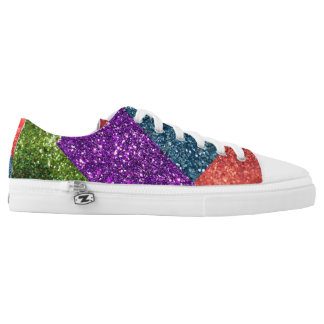 Color Blocked Glitter Low-Top Sneakers