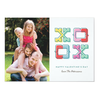 Color-Blocked XOXO Valentine's Day Card