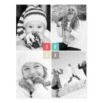 Color Blocks Happy New Year Photo Holiday Postcard