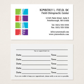 Color Blocks Spine Chiropractic Appointment Cards