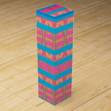 Aztec Themed Color blocks wine gift box