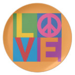 Color-Bloque LOVE=Peace Plato De Cena