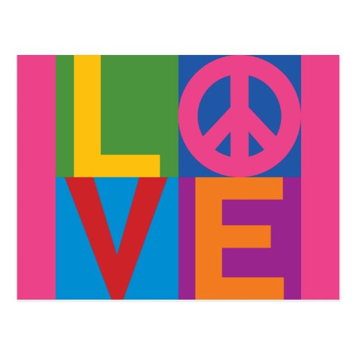 Color-Bloque LOVE=Peace Tarjeta Postal