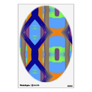 Color Blue Green Orange Art Pattern Toilet Lid Wall Decal