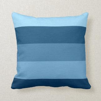 Color Blue Tones Retro Stripes Throw Pillow