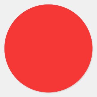 Color brillante de la moda del rojo cereza de neón etiqueta redonda