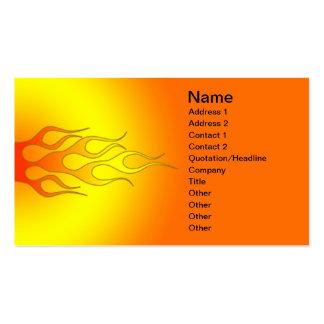 color brillante que compite con las llamas tarjeta de visita