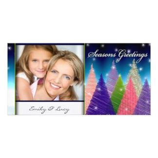Color burst Christmas tree photo card template
