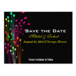 Color Burst Flowers in Black Save the Date Postcard