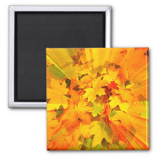 Color Burst of Fall Leaves Autumn Colors 2 Inch Square Magnet