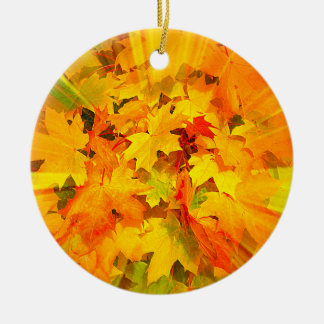 Color Burst of Fall Leaves Autumn Colors Ceramic Ornament