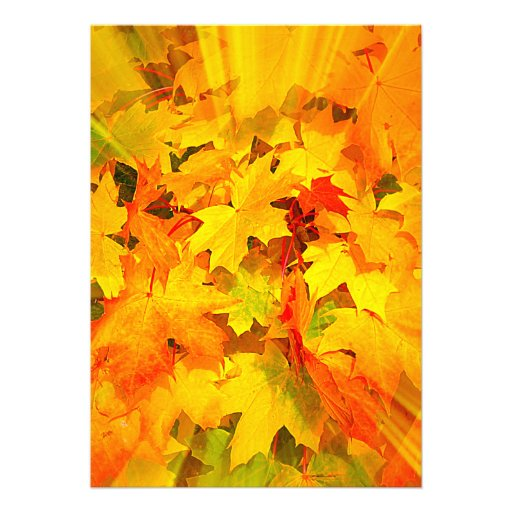 Color Burst of Fall Leaves Autumn Colors Personalized Invitation