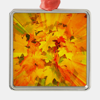 Color Burst of Fall Leaves Autumn Colors Metal Ornament