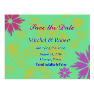 Color Burst Save the Date Postcard in Green Postcard