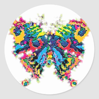 color.butterfly classic round sticker