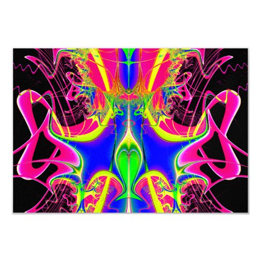 Color Cacophony  Fractal 3.5x5 Paper Invitation Card